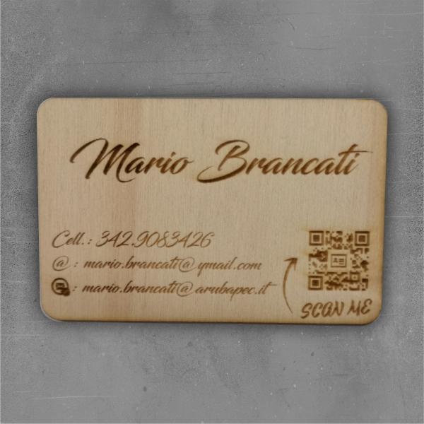 biglietti da visita in legno brancati